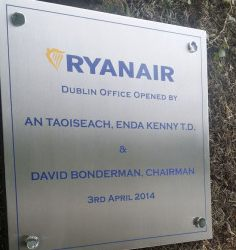Ryanair Official Opening Plaque