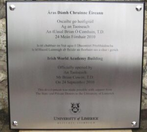 University of Limerick Official Opening Plaque
