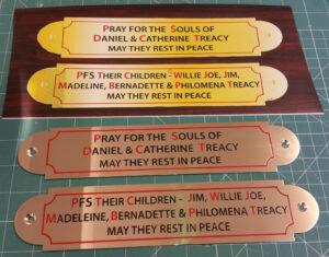Memorial Brass Church Seat Plates