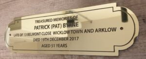 memorial brass church nameplate