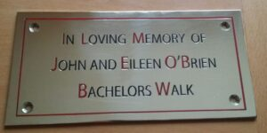 in memory of church pew plaque