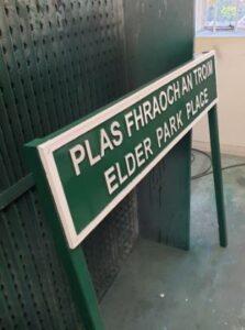 elder park place housing estate sign in cast metal
