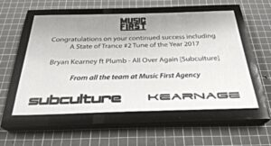 Music industry award plaque in stainless steel