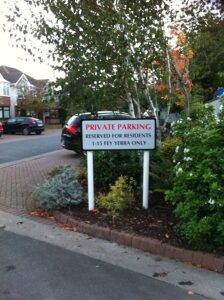 private parking sign for housing estate