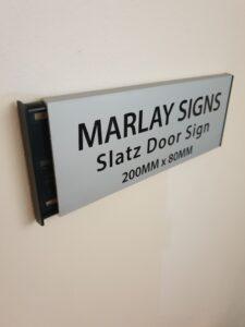 silver slatz aluminium door sign for home office