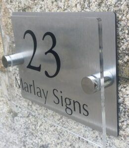 brushed stainless steel and acrylic house sign
