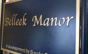 Blue and Gold Beleek Manor Cast Housing Estate Sign