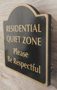 Residential Sign for Quiet Zone