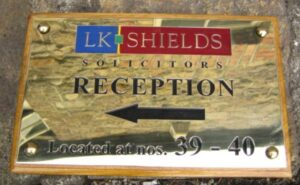 Solicitors brass wall plaque