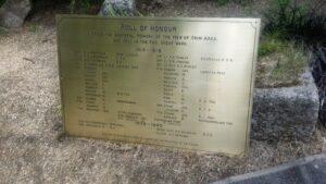 War memorial brass plaque