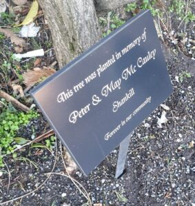 Dedication plaque with stake
