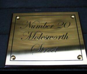 Restaurant Nameplate in Brass